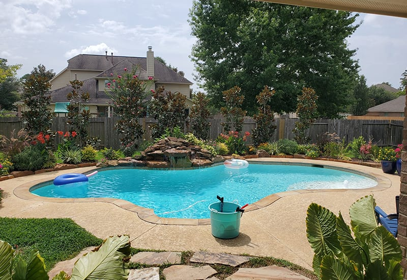 pool in backyard of the house